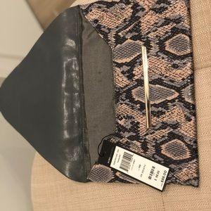 BCBG NEW  faux Snakeskin Harlow grey clutch